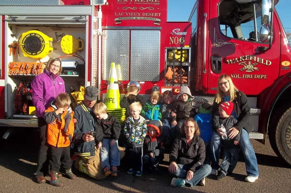 Wakefield Fire Truck with Students standing in front
