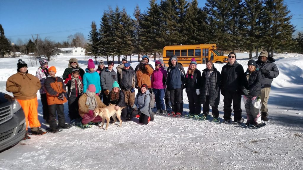 MoCI Transition and MoCI MS/HS classes working together with the SPAR program for a snowshoeing outing during a beautiful sunny day in January.